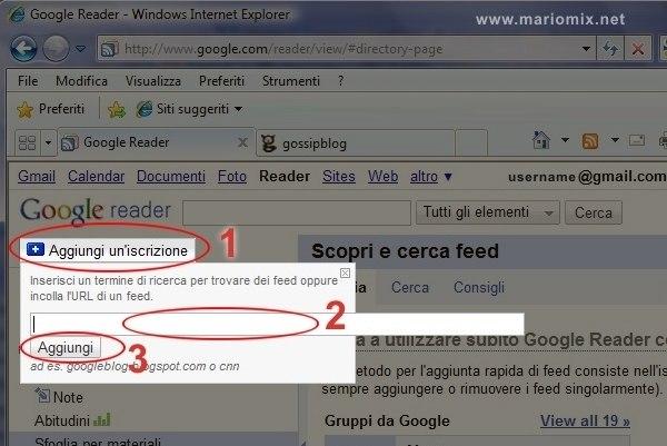 Google Reader: iscrizione a un sito o blog